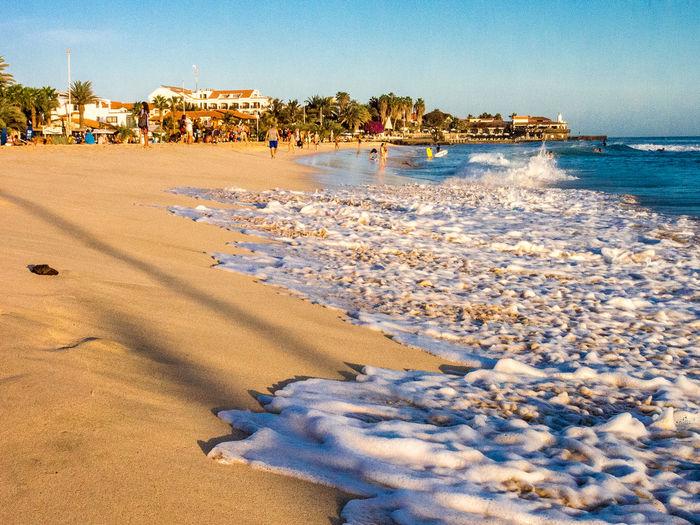 Surf on sandy beach, Santa Maria, Sal Island, Cabo Verde Water Beach Sea Sand