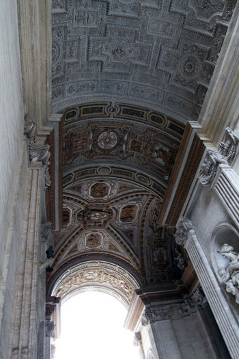 Vatican Arch Architectural Column Architecture Art And Craft Belief Building Built Structure Carving Ceiling Craft Design History Indoors  Low Angle View No People Ornate Place Of Worship Religion The Past Travel Destinations