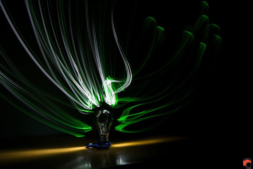 Light penning Manufacturing Equipment Technology Science Black Background Abstract Close-up Green Color Light Painting Long Exposure First Eyeem Photo