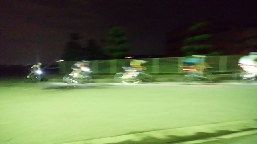 Bicycles Night Practice Practice Practice Illuminated Mode Of Transport Transportation Green Color Outdoors