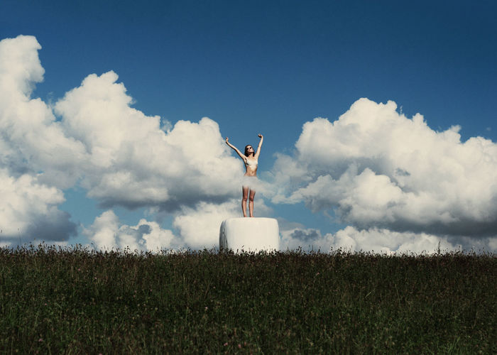 Clouds Disco Blue Sky Clouds Cyan Girl Green Grass Linas Was Here Nature Perfect Weather Photo Manipulation Stretch Summer White Yawn The Week On EyeEm Editor's Picks #FREIHEITBERLIN The Great Outdoors - 2018 EyeEm Awards A New Perspective On Life
