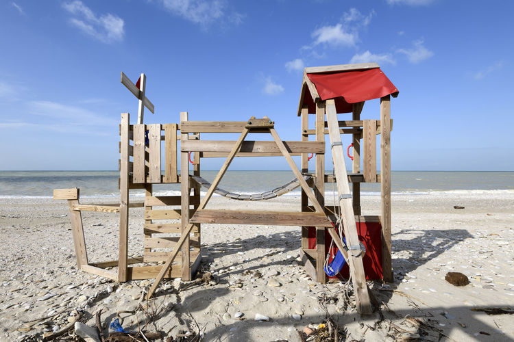 beach playground Playground Equipment Structure Seascape Abandoned No One No People Absence Wood - Material Nature Adriatic Sea Adriatic Coast Plastic Sand Environment Winter Pollution