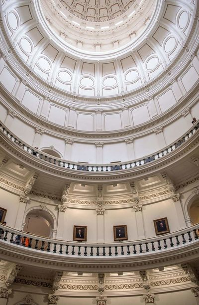 Indoors Texas Capitol, Austin. Austin Texas Capitol USA Texas Capitol Politics And Government Downtown Austin Architecture Ornate Built Structure Indoors  Architectural Feature History Low Angle View Ceiling Tourism Classical Style Travel Destinations Brightly Lit No People Day Courtroom Discovering Building The Architect - 2017 EyeEm Awards My Best Travel Photo