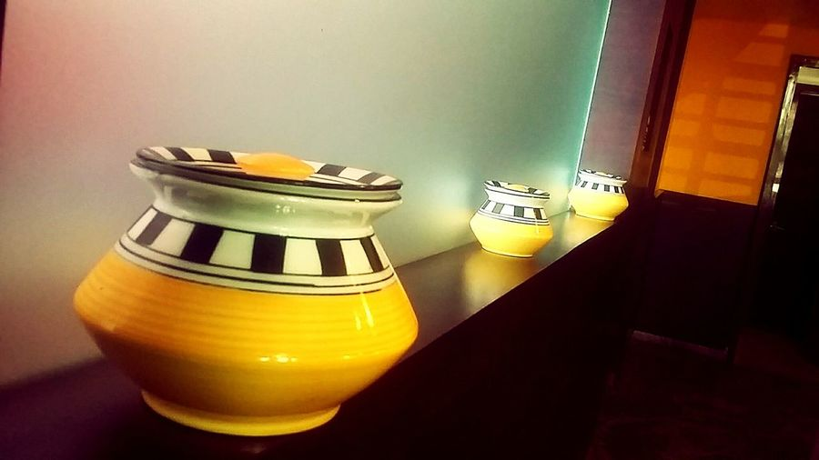 Q Curios in a Queue Showcase March Yellow Beauty Pots Art In Ceramic pastel power EyeEm Best Shots Getting Creative Scenics Exceptional Photographs EyeEm Masterclass Still Life No People In My Point Of View Arrangement Close-up Colorful EyeEm Gallery Fine Art First Eyeem Photo Indoors