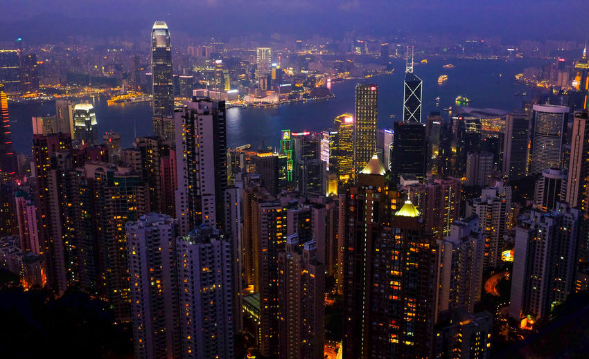 Aerial View Architecture Building Exterior Built Structure City City Life Cityscape Composition Crowded Development Dusk High Angle View Human Settlement Illuminated Kowloon Night Office Building Perspective Residential District Skyline Skyscraper Sunset The Peak Top Perspective Tower