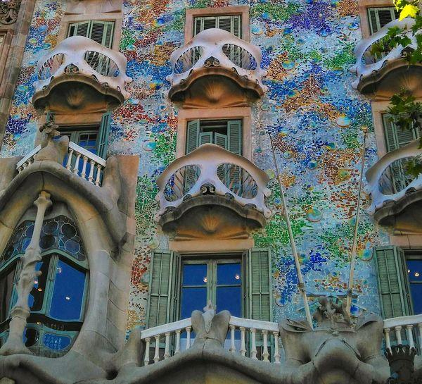 Colourful Gaudi Architecture City Barcelona Colors Built Structure