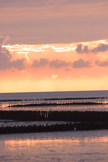 Beach Boardwalk Clouds Golden Dea Gra Grass Mudflat North Sea Sea Sundown Tideland Wadden Sea