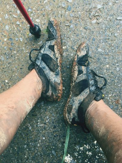 Trail run Muddy Dirty Shoes Minimalist Vibramshoes V-alpha Vibram FiveFingers Real People Human Hand Hand Personal Perspective Lifestyles Body Part Leisure Activity Outdoors
