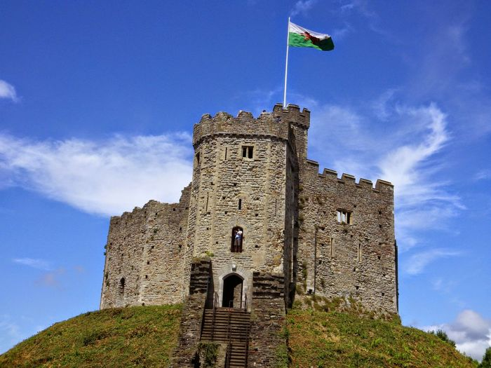 Low Angle View Of Cardiff Castle Against Sky