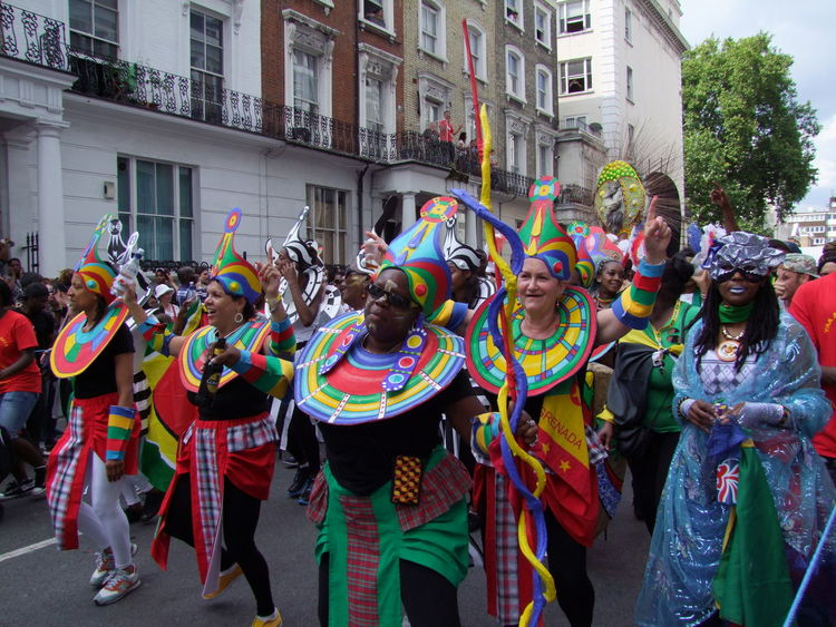 Nottinghill Carnival 2013 Abundance Carnival Celebration City Coloutful Composition Costume Cultures Dance Group Dancers Festival Front View Full Frame GB Large Group Of People Leisure Activity Lifestyle London Multi Colored Nottinghill Carnival Outdoors Smiling Tourist Attraction  Tradition Uk