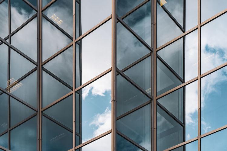 Full frame shot of glass window against sky