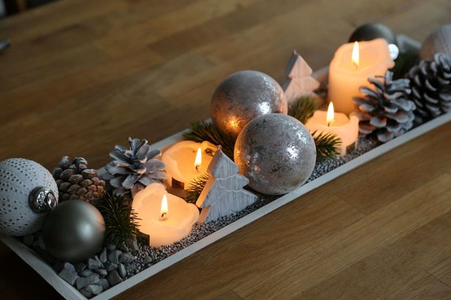 Christmas decoration with candles on brown table Christmas Christmas Lights Christmas Time Table Setting Tree Candle Christmas Decoration Christmas Decorations Close-up Hygge Indoors  No People Table Table Top