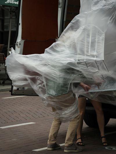 Outdoors People Day Wind Plastic Legs Moving Street Streetphotography Blown Away The Street Photographer - 2018 EyeEm Awards The Portraitist - 2018 EyeEm Awards