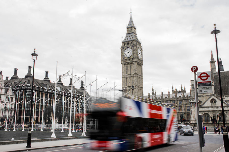 Architecture Big Ben Blurred Motion Building Exterior Built Structure Bus City Clock Clock Tower Day Double-decker Bus Government Land Vehicle London Mode Of Transport Motion No People Outdoors Sky Transportation Travel Destinations