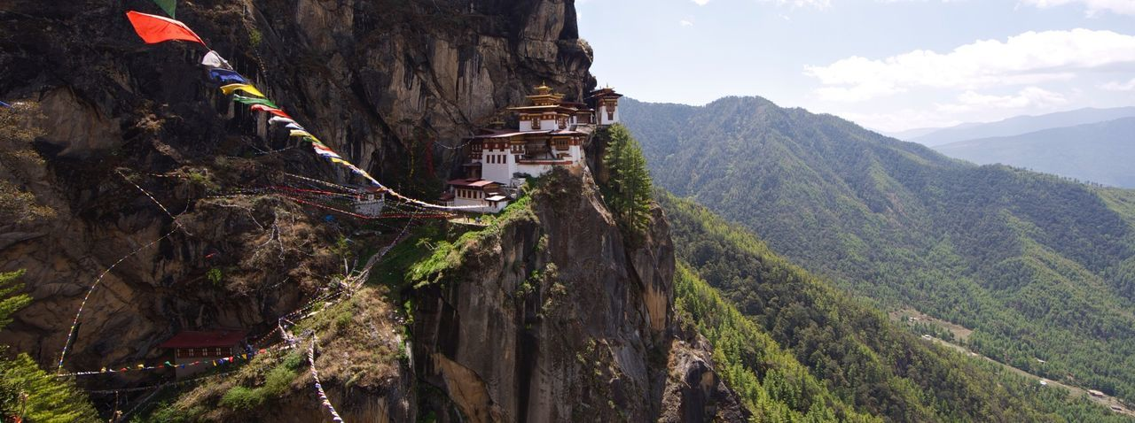 Paro taktsang on mountain against sky