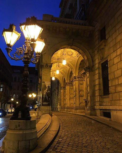 Illuminated Architecture Night Street Light Building Exterior Built Structure Outdoors No People Sky Statue Astronomical Clock Budapest Operahouse