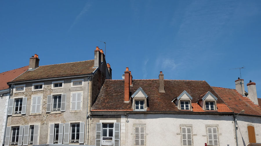 Building Exterior Architecture House Built Structure Window Outdoors Residential Building Blue Roof Sky No People Old-fashioned Chimney Clear Sky Day City France French Buildings Street WeekOnEyeEm
