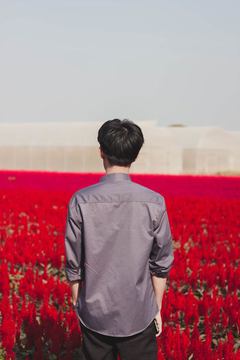 Rear view of man standing on red field against sky
