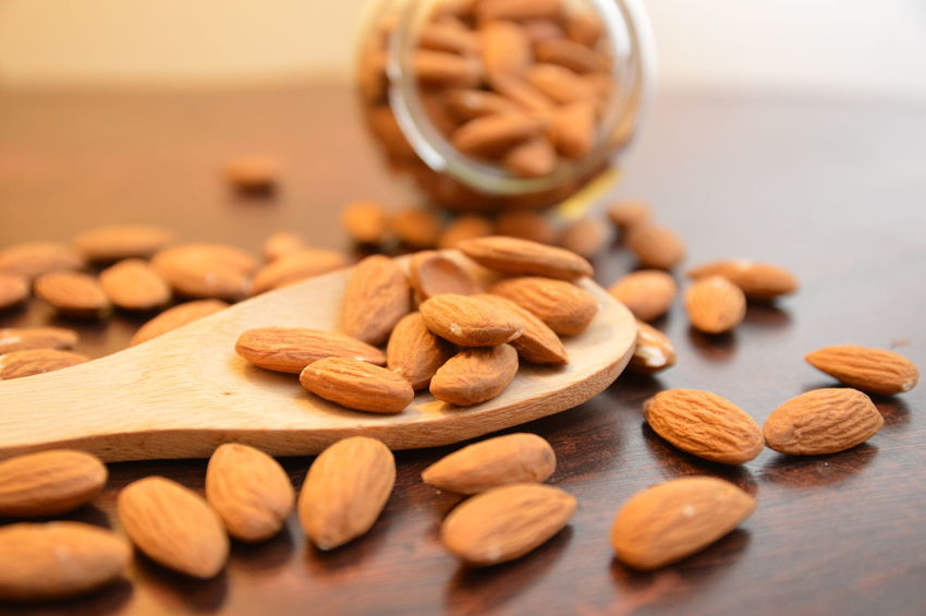 almonds mandorle su cucchiaio di legno Food And Drink Nut - Food Food Healthy Eating Hazelnut Close-up Selective Focus Dried Food Indoors  No People Food Stories