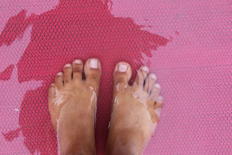 Foot in water Low Section Nail Polish Pedicure Manicure Fingernail Beach Females Pampering Human Leg Women