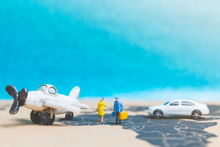 Miniature people : Travellers with airplane on The world map , Travel and business concept. Earth Figure Plant Tourist Transport Travel Aircraft Wing Airplane Airport Business Finance And Industry Businessman Concept Creative Explore Figurine  Flight Global Globe Guide Journey Mammal Miniature Miniature People Summer Tourism