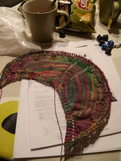 Dnd being productive tonight. At least on the Knitting department.