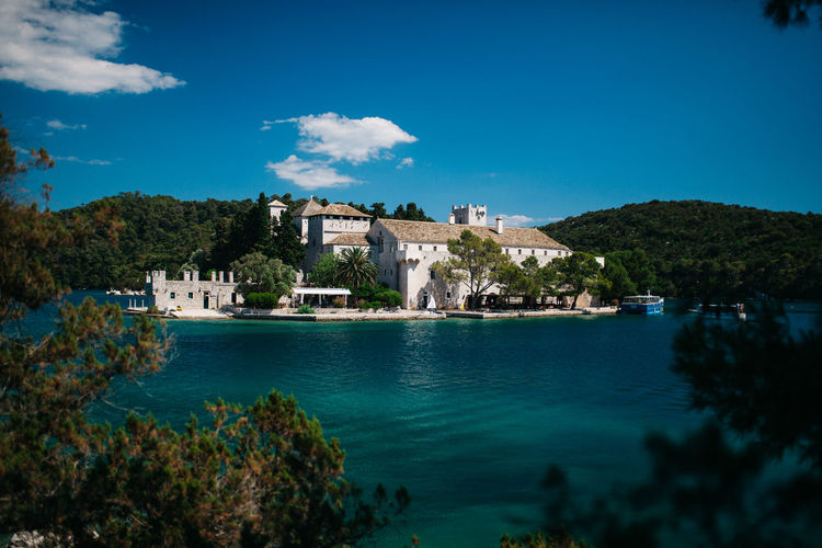 Mljet national park Architecture Blue Blue Sky Building Exterior Built Structure Castle Croatia Day History Islandlife Mljet National Park Nature No People Outdoors Sipan Sipan Island Sky Travel Destinations Tree Vacation Destination Water