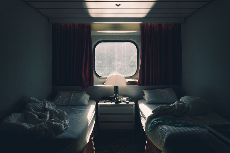 Empty beds in the train