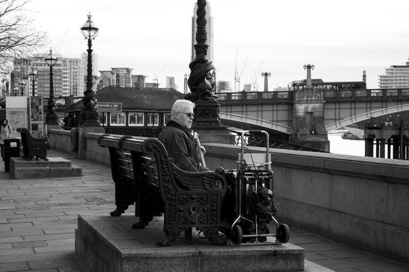 Black & White City Guitar London Men Outdoors Sreet Music Street Lamps Thames River