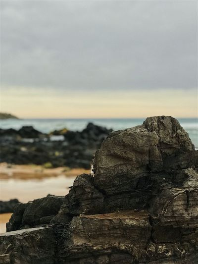 Sky Sea Water Nature Cloud - Sky Focus On Foreground Rock Land Solid No People Tranquility Beach Close-up Rock - Object Horizon Over Water Scenics - Nature Outdoors Tranquil Scene Beauty In Nature Horizon