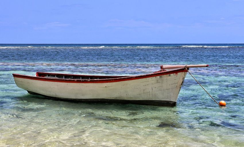 Boat Sea Scenics Horizon Over Water Fishing Fishboat Mauritius Island  Mauritius EyeEm Best Shots Transportation Mode Of Transport No People Beach Beach Life Fishing Boat Fish Fishing Time Fishing Village Seaside Sea And Sky Seascape Sea Life Boat Water Sea_collection Sealife