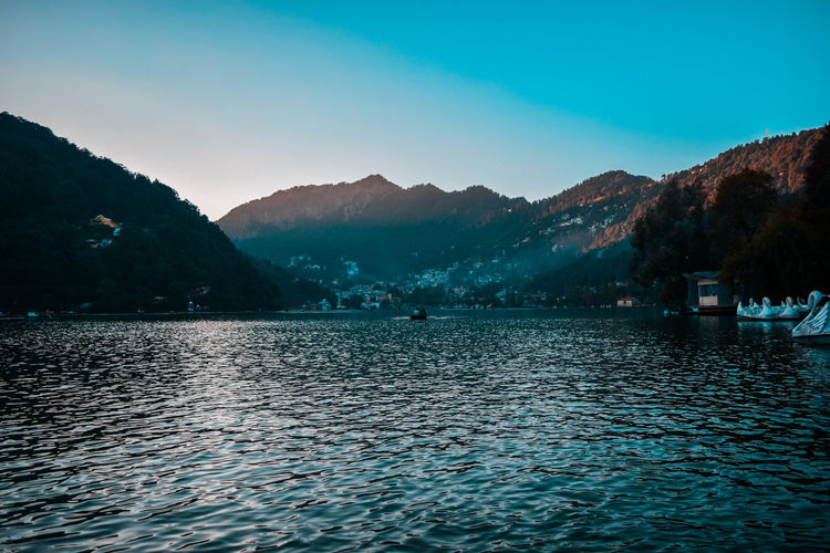 Valley of Sun Mountain Water Waterfront Scenics - Nature Beauty In Nature Sky Tranquil Scene Mountain Range Tranquility Nature Non-urban Scene Lake Rippled Tree Day Idyllic Clear Sky Outdoors Nainital Valley