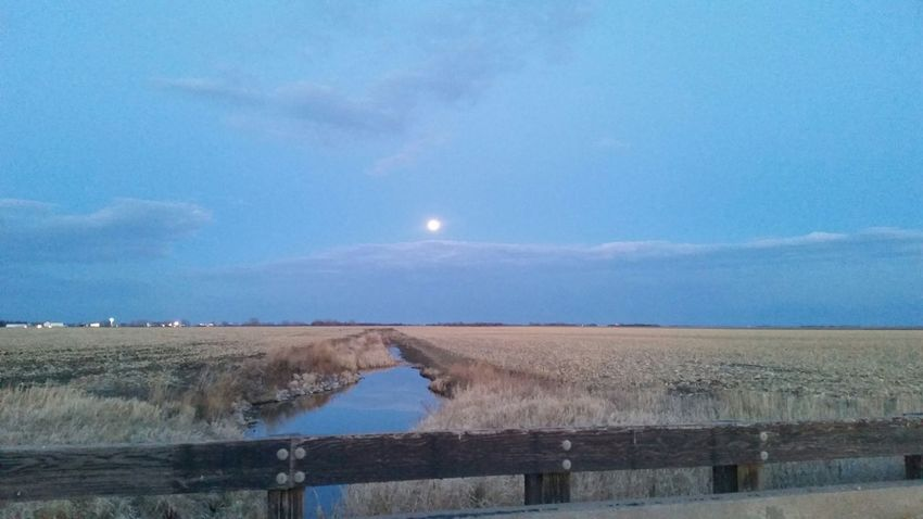 Peace And Tranquility Moonrise Over The Prairie Beautiful Evening Moon Bridge Railing Relaxation Water_collection Run Off