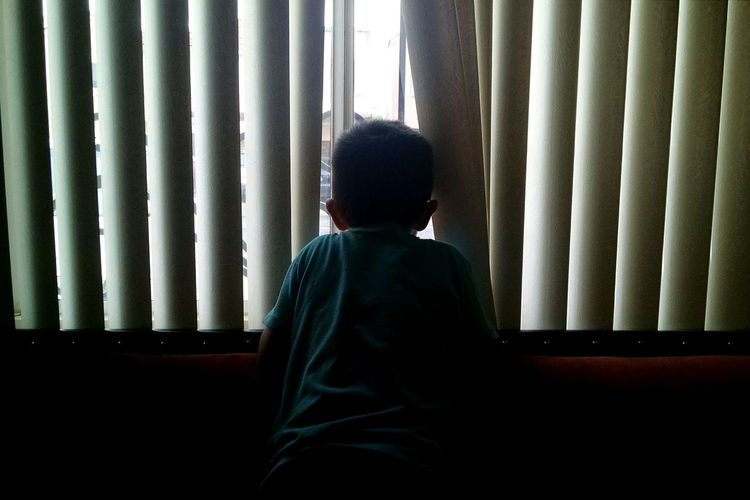 Rear view of boy looking through blinds window at home