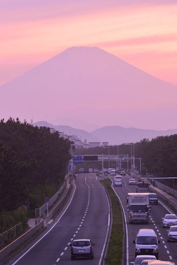 Sunset Silhouettes Sky Collection Cars On The Road Mt Fuji Landscape_Collection