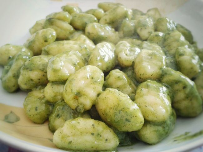 Gnocchi Di Patate al Pesto Alla Genovese Italian Food : Genova and Liguria Healthy Eating Food Food And Drink Plate Freshness No People Ready-to-eat Homemade Dumpling  Close-up Pesto Genovese Sauce Smartphone Photography Android Photography S3 Mini