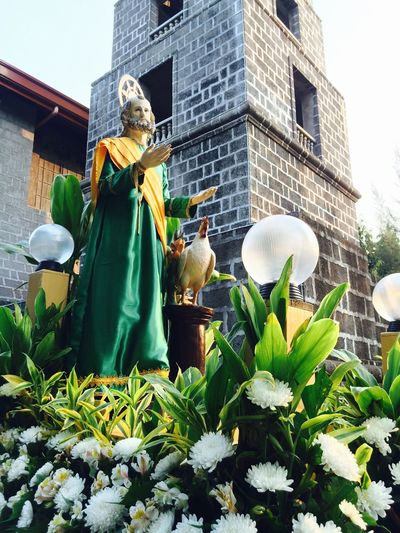 Low angle view of saint statue by flowers outside church