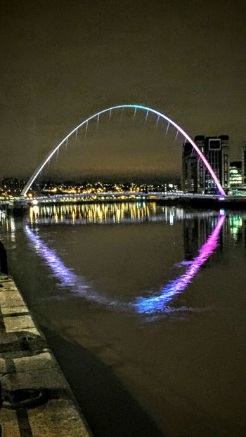Reflection Water River City Night No People Illuminated Bridge - Man Made Structure Outdoors Nautical Vessel Architecture Sky Yacht Tyne And Wear Millenium Bridge Newcastle Upon Tyne River Walk Check This Out Exceptional Photographs River Tyne,