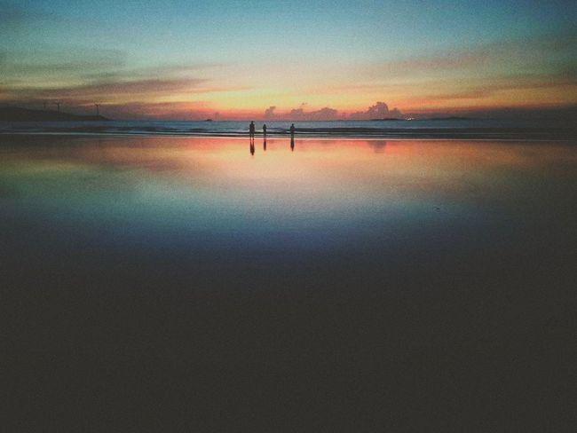 Water Sea Sunset Beach Silhouette Reflection Sky Horizon Over Water