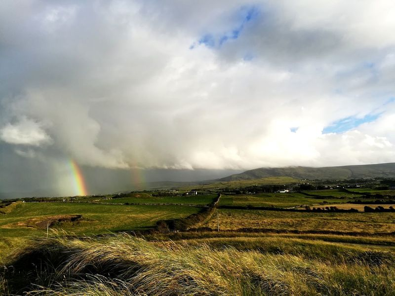 Ireland Cloud - Sky Weather Hill Nature Landscape Field Beauty In Nature No People Outdoors Ireland Landscapes Rainbow Doublerainbows Doublerainbow The Traveler - 2018 EyeEm Awards