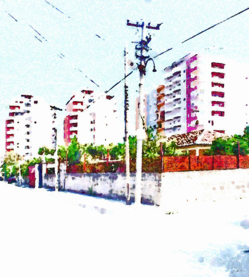 Road between buildings of the villag Albania Fier Architecture Art Building Exterior Built Structure City Day Digital Art Digital Painting Electricity  Electricity Pylon No People Outdoors Sky Watercolor Watercolor Painting