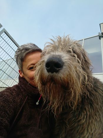Love ❤️ Domestic Animals Looking At Camera One Person Portrait Human Body Part Irishwolfhound Dogs Of EyeEm Willi The Wolfhound Irish Wolfhound Dog Photography Selfie ♥ Togerherness Bonding Dog Life Dog Days Dogsareawesome Animal Hair Smiling Cold Temperature Women