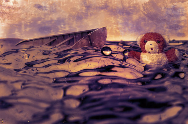 distress at sea Boat Childhood Close-up Day Distress No People Outdoors Purple Sar Sea Sinking Boat Sinking Ship Sos Stuffed Toy Teddy Bear Water Waves