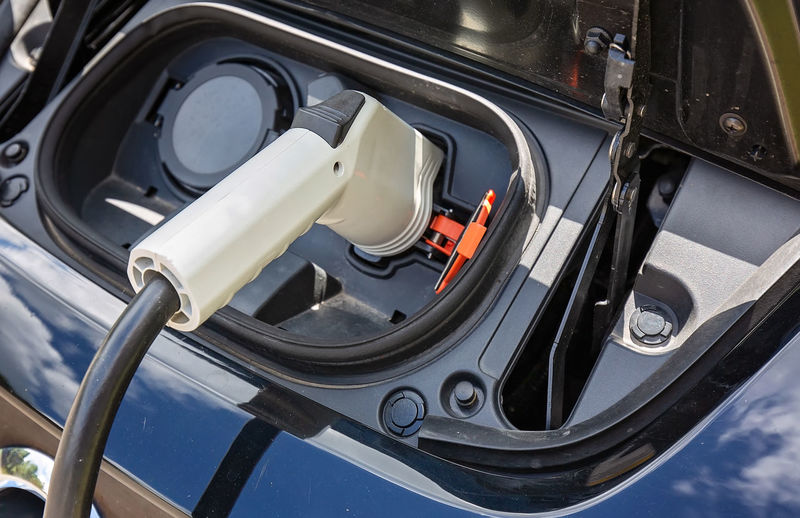 High angle view of car charging