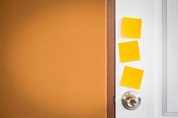 Blank Adhesive Notes On Door