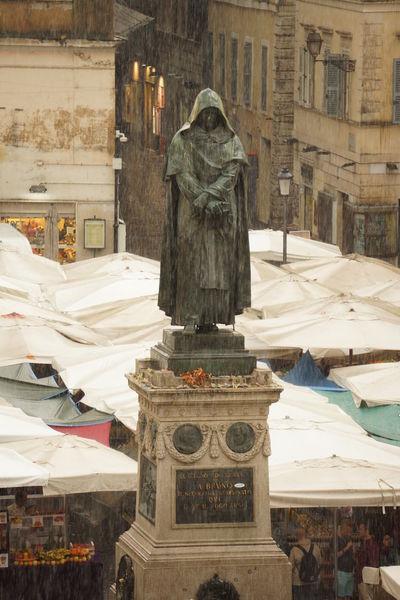 Architecture Building Exterior Built Structure Campo Dei Fiori City Day Giordano Bruno Heavy Rain No People Outdoors Sculpture Statue