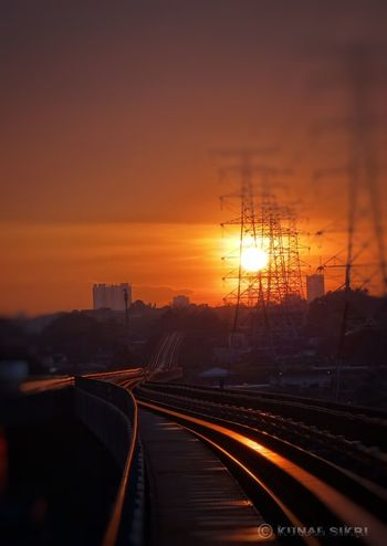 The Light... !! Light Orange Sky Sunset Railroad Track Transportation Travel Destinations No People City