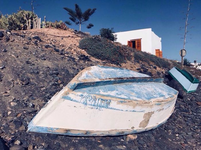 Playa Quemada - Lanzarote Lanzarote Boat Lightblue Barco Pesca Fishing Sailor Playaquemada Vintage Outdoors Abandoned Beachphotography Beach Canary Islands Frame Postcard No People