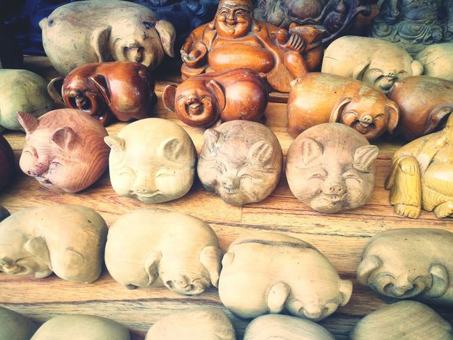 Local Shops Hoi An Vietnam Wooden Carvings Carvings Pigs Wooden Pigs Buddha Art Budha Wooden Buddha Handmade Textures And Shapes Wood Grain Beauty