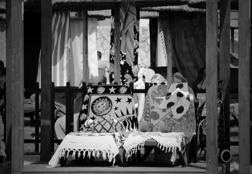 Blackandwhite Black And White Black & White EyeEm Best Shots - Black + White Outdoors Day No People Empty Absence Empty Chair Chair Chairs Towel Towers Poolside Sunlight Sunny Textile Pattern Built Structure Shadow Perspective Different Perspective Wood - Material Wood Structure Representation Hanging Focus On Foreground Craft